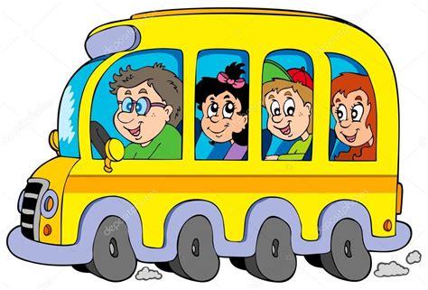 imagenes transporte escolar animado autob 250 s escolar de dibujos animados con ni 241 os vector de