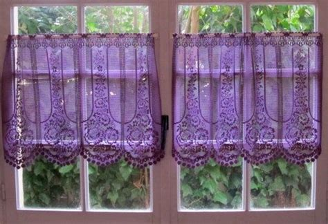 aubergine lace cafe curtain one panel purple kitchen