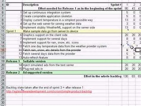 Managing Your Scrum Product Backlog In A Simple Excel Youtube Simple Product Backlog Template Xls