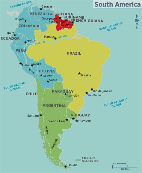 south america map with states and capitals map of south america countries and capitals