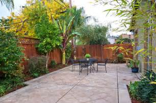 Outdoor patio in a small yard the art of a small yard landscape