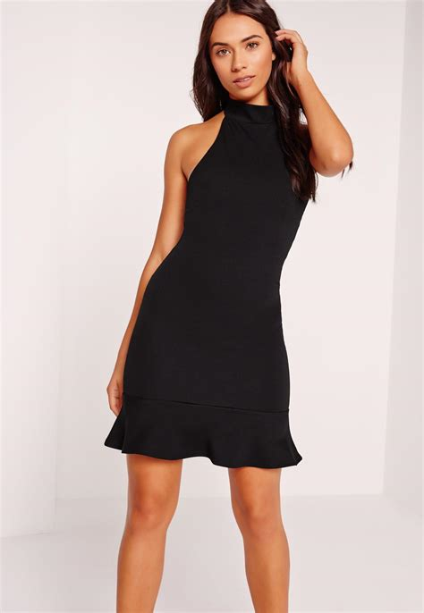black halter neck dress ejn dress