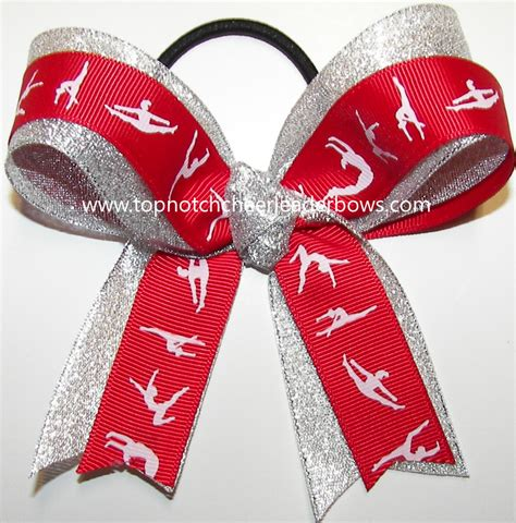 ribbon for hair that says gymnastics gymnastics red silver ponytail holder bow red gymnast