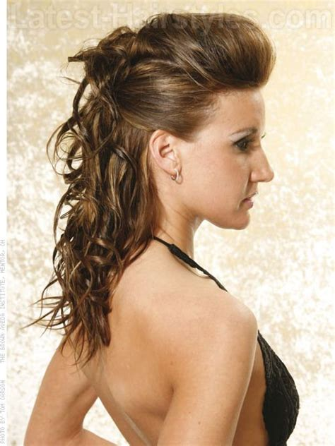 curly hairstyles volume sleek curly half updo hairstyle with volume winter