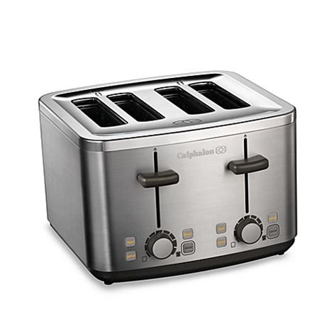bed bath beyond toaster calphalon 174 brushed stainless steel 4 slice toaster bed