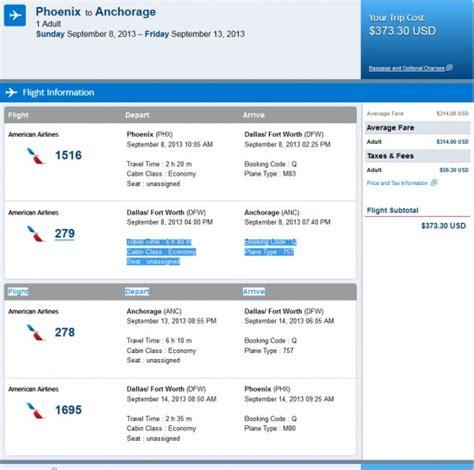 airfare deal american phoenix anchorage alaska