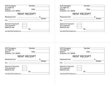 Open Office Rent Receipt Template by Rent Receipt 4 Per Page Openoffice Template