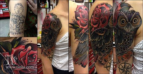 owl cover up tattoos cover up owl with tattoos by tiolu