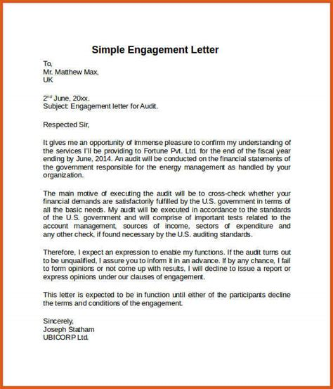 engagement letter sle general resumes