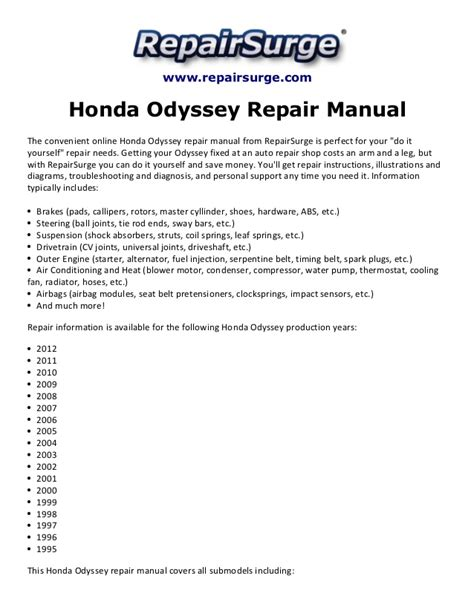 honda odyssey repair manual 1995 2012