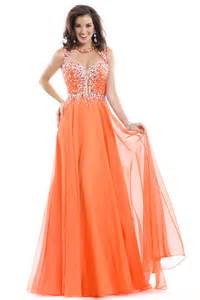 buy tailor made chiffon bateau floor length beaded orange