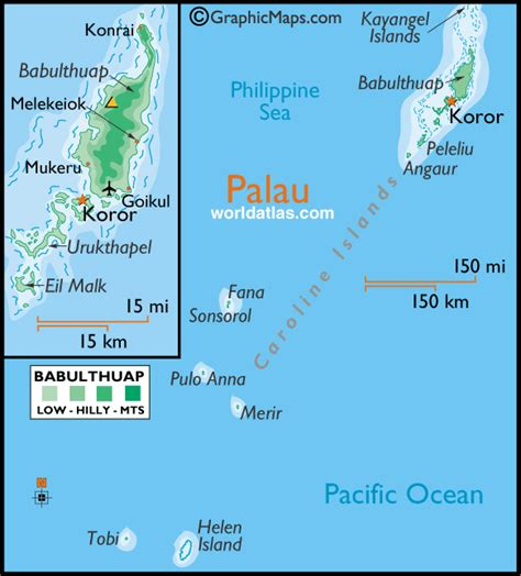 palau map palau large color map by world atlas