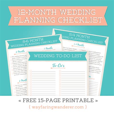 printable wedding planner pdf wayfaring wanderer 12 month wedding planning checklist