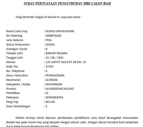 format surat pengunduran diri siswa contoh surat pernyataan pengunduran pembatalan calon haji