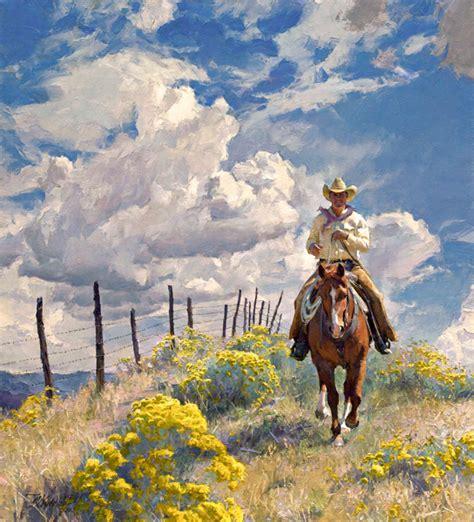 R S Painting r s riddick chamisa line rider 40 x 36