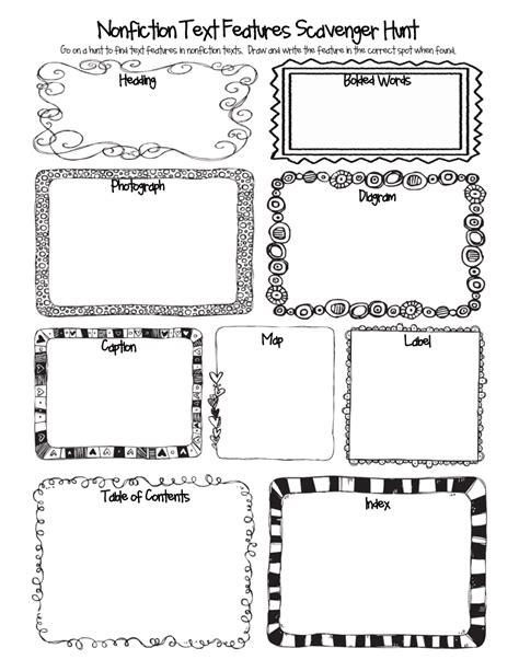 non fiction biography graphic organizer nonfiction text features scavenger hunt pdf 4th grade