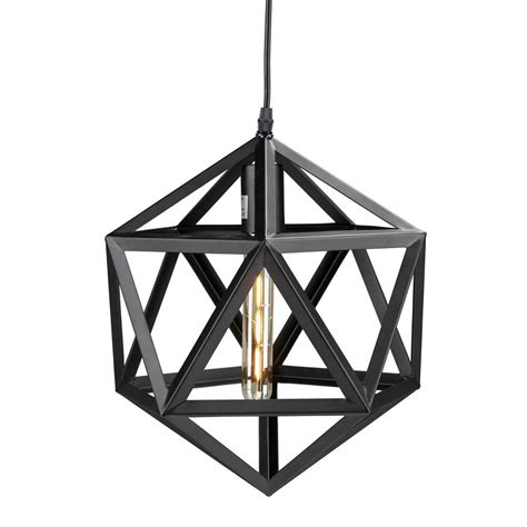 geometric pattern hanging light perdue 1 light matte black geometric cage pendant l