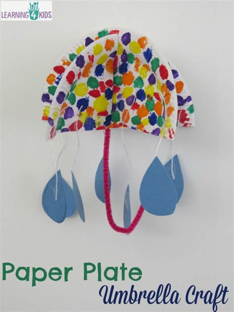 How To Make Umbrella With Paper Plate - paper plate umbrella craft learning 4