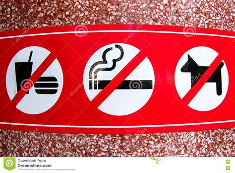 no smoking sign dog no smoking no dog no food sign in public place stock