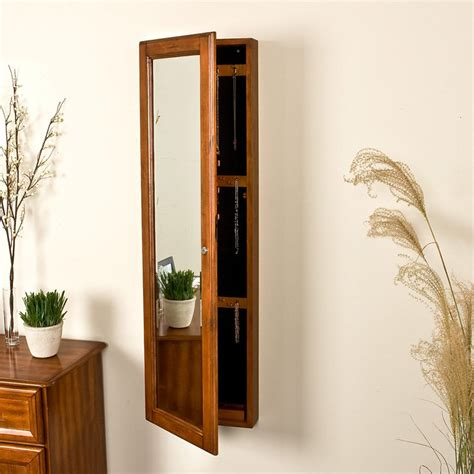 wall mounted mirrored jewelry armoire master sei136 jpg
