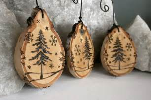 winter wonderland set of 3 birch ornaments woodburning