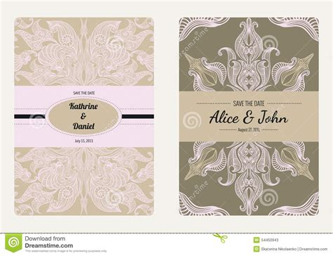 vintage wedding cards templates floral save the date wedding invitation template