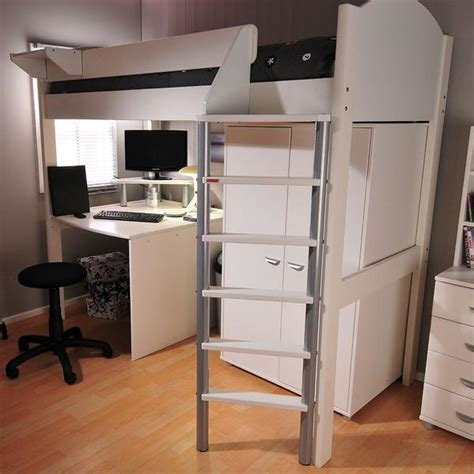 high sleeper beds with desk and futon stompa casa 12 white high sleeper bed with desk wardrobe