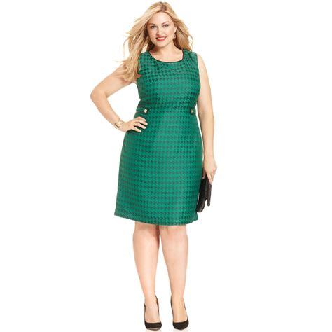 Dress Hodie New York lyst jones new york sleeveless houndstooth print shift dress in green