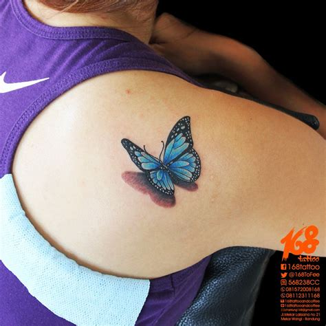 studio 3 tattoo 3d blue butterfly on shoulder by chanlung at 168