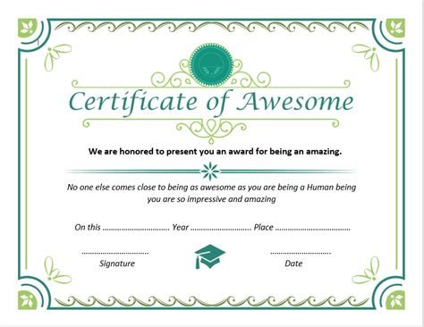 certificate of awesomeness template certificate of awesomeness templates 4 unique designs