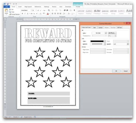reward chart template word free printable reward charts