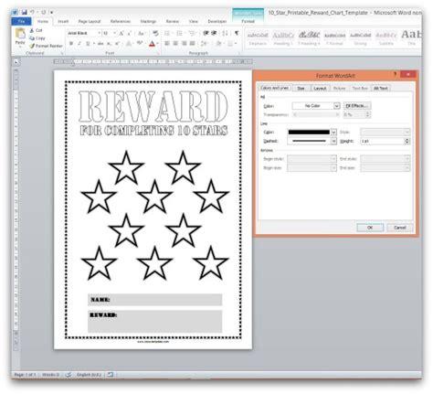 reward chart template word free printable reward charts
