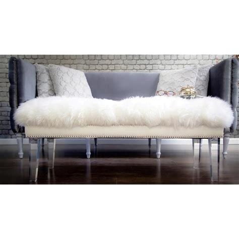 lucite bench legs white sheepskin lucite legs bench