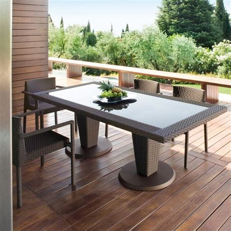 Modern Patio Table St Tropez Outdoor Wicker Dining Table And Chairs Modern Patio Chicago By Home Infatuation