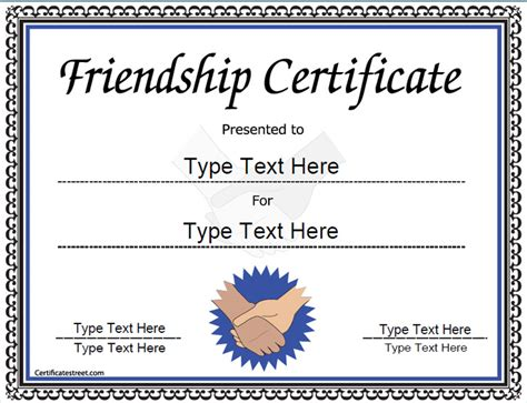 special certificates award template for friendship