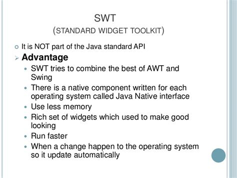 java awt vs swing swt vs swing