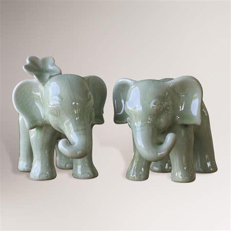 ceramic elephant novica quot noble elephants quot celadon ceramic figurine set