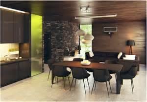 Bien Idee Salon Salle A Manger #3: Pr%C3%A4chtig-modern-Wohnzimmer-Designs-braun-esstisch-stuhl-leuchter.jpg