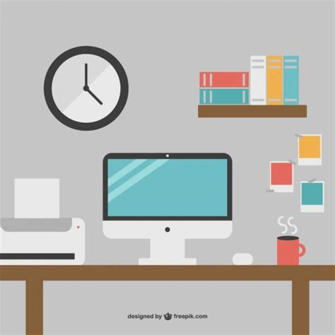 minimalist computer minimalist office desk free graphics vector free download