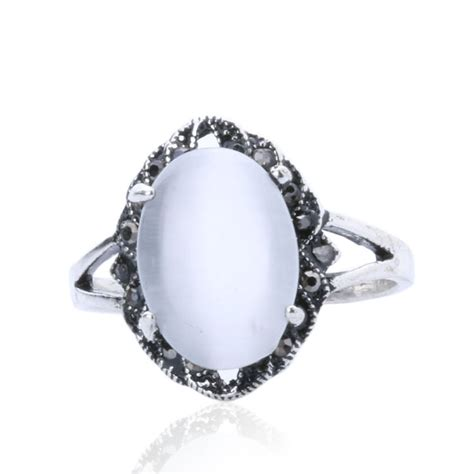 sale jewelry cheap silver plated ring white oval opal
