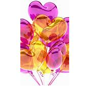 HD Purple Yellow Heart Balloons Android Wallpaper Free