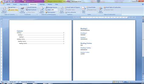 buat daftar isi otomatis word 2007 membuat daftar isi otomatis pada ms word 2007 halima s blog