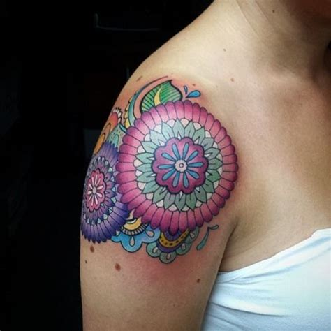 colorful tattoos for females 20 shoulder mandala tattoos for and 4