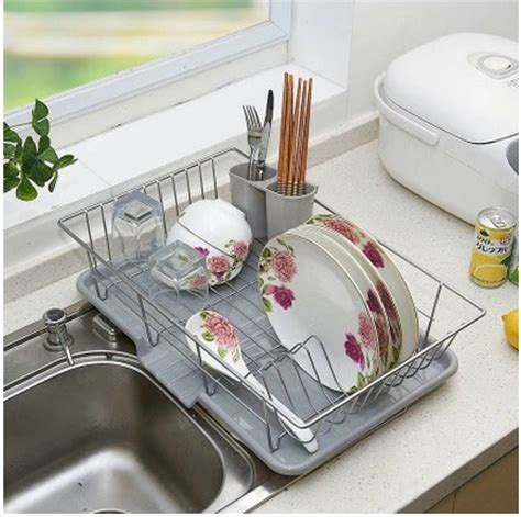 Rak Piring 3 In 1 Large Stainless Steel Dish Rack Drain Rack Dish Rack Kitchen Racks Dishes To Discharge In