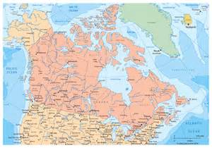 large political and administrative map of canada with