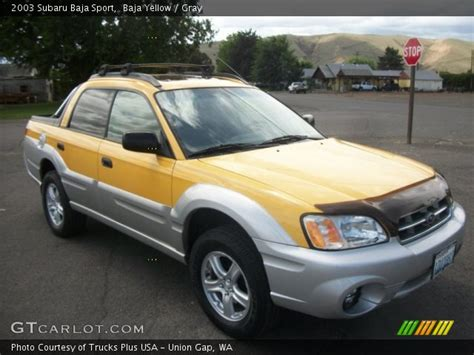 yellow subaru baja baja yellow 2003 subaru baja sport gray interior