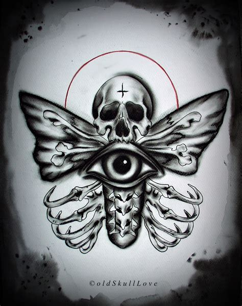 dead head tattoo designs grey ink moth design