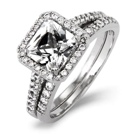 inspired princess cut cz engagement ring set s
