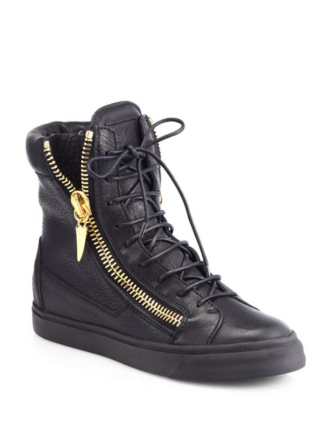 giuseppe zanotti sneakers giuseppe zanotti leather high top wedge sneakers in black