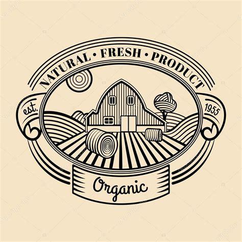 engraving logo retro farm fresh engraving logotype stock vector